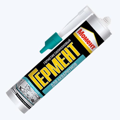 «Момент Гермент» <p> Герметик из 100%-ного силикона подходит для сборки террариумов и аквариумов. Он сохраняет свойства при контакте с соленой водой, воздействии вибрации. Герметик хорошо сцепляется с простым, глазурованным, ламинированным стеклом.